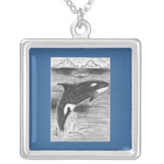Libertad de la orca del dibujo colgante cuadrado