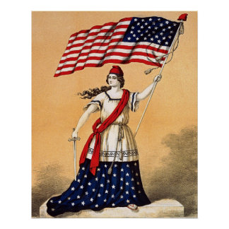 libertad de la señora con la bandera americana impresiones