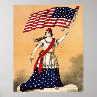 libertad de la señora con la bandera americana póster
