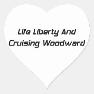 Libertad de la vida y Woodward que cruza Pegatina En Forma De Corazón