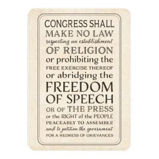 """Libertad de prensa - texto de la Primera Enmienda Invitación 4.5"""" X 6.25"""""""