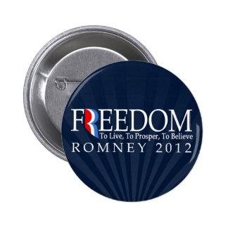 Libertad de Romney Pin Redondo De 2 Pulgadas