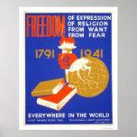 Libertad de Roosevelt para el WPA 1941 Poster