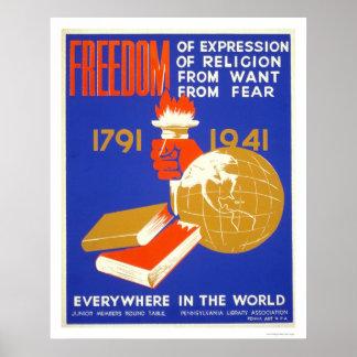 Libertad de Roosevelt para el WPA 1941 Póster