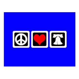 Libertad del amor de la paz postales