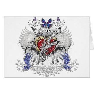 Libertad del amor de la vida de la paz tarjeta de felicitación