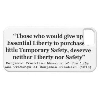 Libertad esencial y seguridad temporal Franklin iPhone 5 Fundas