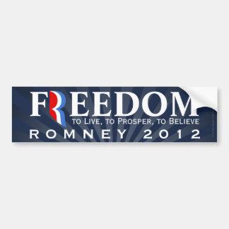 Libertad Favorable-Romney etiqueta 2012 de la peg Pegatina De Parachoque
