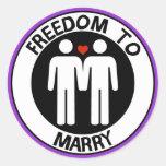 Libertad gay a casarse pegatina redonda