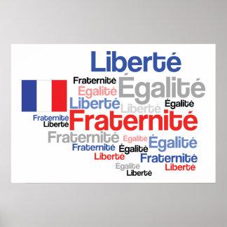 Libertad, igualdad, bandera del francés de la frat póster