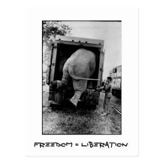 Libertad = liberación postales
