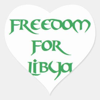 Libertad para Libia Pegatina En Forma De Corazón
