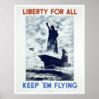 Libertad para todo el WWII WPA 1942 Póster