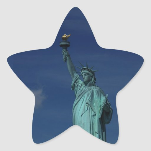 Libertad que aclara el mundo - estatua de la pegatina en forma de estrella