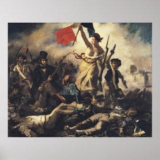 Libertad que lleva a la gente de Eugene Delacroix Poster