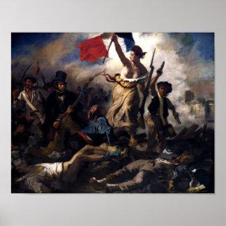 Libertad que lleva a la gente -- Revolución France Póster