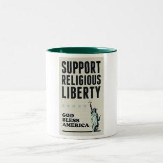 Libertad religiosa de la ayuda taza de dos tonos