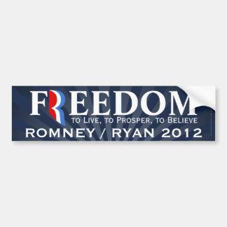Libertad, Romney/etiqueta 2012 de la pegatina para Pegatina Para Auto