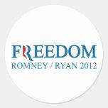 Libertad Romney/Ryan 2012 Pegatinas Redondas