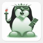 Libertad Tux (Linux Tux) Calcomanías Cuadradas