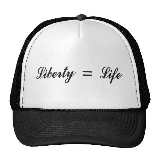 Libertad = vida gorras