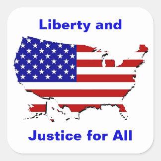 Libertad y justicia para todos pegatina cuadrada