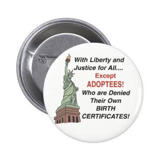 Libertad y justicia pin redondo de 2 pulgadas