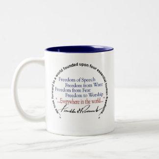 Libertades del FDR Franklin D Roosevelt cuatro Taza De Café