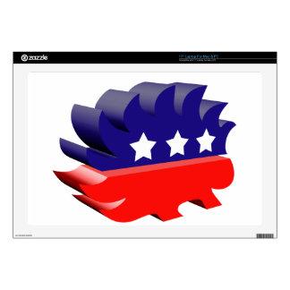 """Libertarian porcupine 3D 17"""" Laptop Decals"""