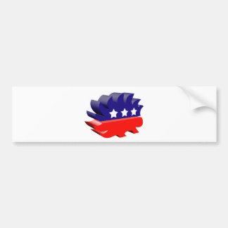 Libertarian porcupine 3D Bumper Sticker