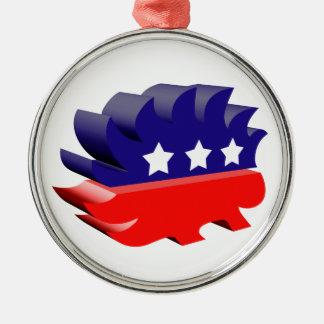 Libertarian porcupine 3D Metal Ornament