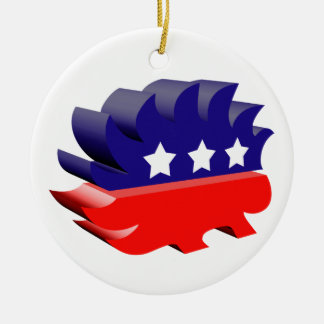 Libertarian porcupine 3D Double-Sided Ceramic Round Christmas Ornament
