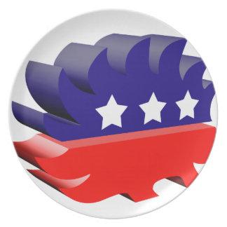 Libertarian porcupine 3D Party Plate