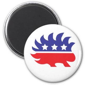 libertarian porcupine 2 inch round magnet