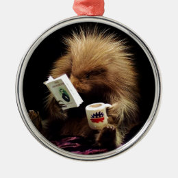 Libertarian Porcupine Mascot Civil Disobedience Metal Ornament
