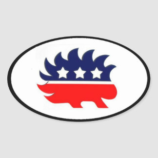Libertarian porcupine mascot oval oval sticker