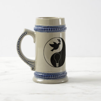 Libertarianism Logo Emphasizing Peace & Innovation Beer Stein