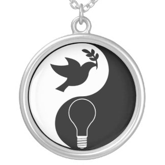 Libertarianism Logo Emphasizing Peace & Innovation Silver Plated Necklace