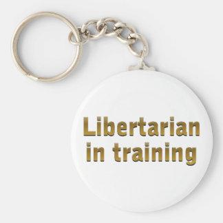 Libertario en el entrenamiento llavero redondo tipo pin