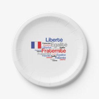 Liberté, Égalité, Fraternité - bandera francesa Plato De Papel De 7 Pulgadas