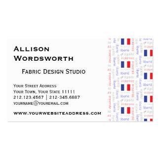 Liberté - Egalité - Fraternité French Word Pattern Double-Sided Standard Business Cards (Pack Of 100)