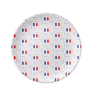 Liberté - Egalité - Fraternité French Word Pattern Plate