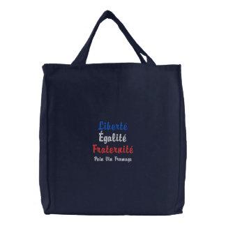 Liberté, Égalité, Fraternité Pain Vin Fromage Embroidered Tote Bag
