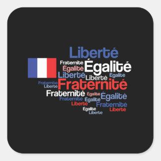 Liberté, Égalité, lema nacional francés de Pegatina Cuadrada