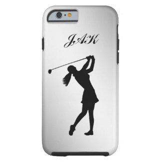 Libertino del golf, hembra, monograma adaptable funda resistente iPhone 6