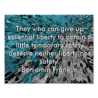 Liberty and Safety Ben Franklin Quote Poster