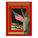 Liberty and the flag postcard