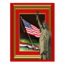 Liberty and the flag postcard