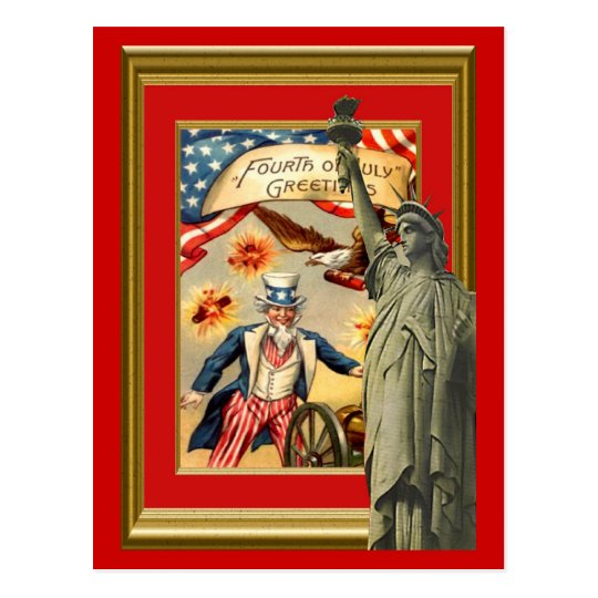 Liberty and Uncle Sam Postcard