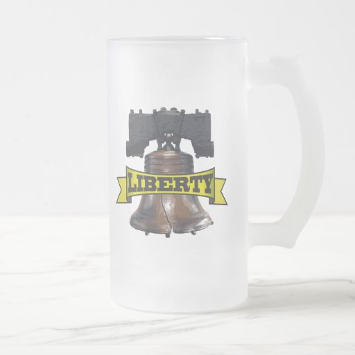 Liberty Bell 16 Oz Frosted Glass Beer Mug